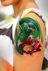 Cute and colourful hummingbird tattoo for girls